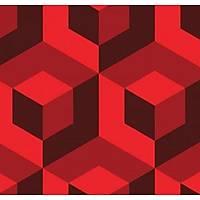 3D Art 7015 Kırmızı Küp Desenli Duvar Kağıdı