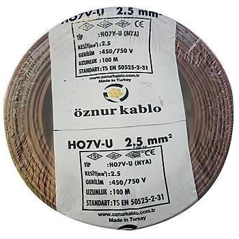 Öznur Bakýr 2,5 Nya Kablo Kahverengi 100 Metre