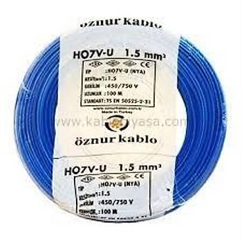Öznur Bakýr 1,5 Nya Kablo Mavi 5 Metre
