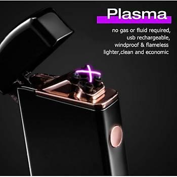Çift Ark Elektronik Plazma Metal Çakmak USB Þarjlý Rüzgar Geçirmez Alevsiz Puro