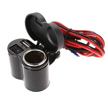 Motosiklet Çakmaklýk + USB Þarj Soketi Anahtarlý