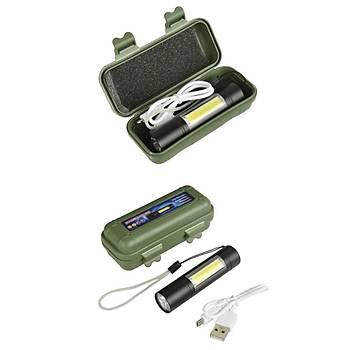 USB Þarjlý Parlak EDC LED Fener 1518 XPE+COB 1000lm 3Mod XANES