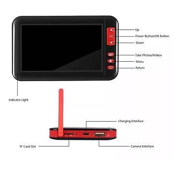 Renkli Ekran 1080P Borescope 8 mm Kamera Iþýk Ayarlý Þarjlý 8 LED 10 mt Sert Kablo