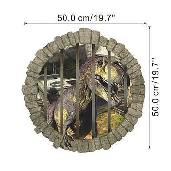 3D duvar cýkartmasý Trex in Jail 50 X 50