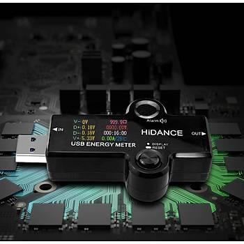 12 in 1 USB DC Dijital Renkli Ekran Voltmetre Ampermetre Akým Gerilim Ölçer