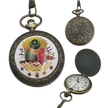Klasik Kuvars Köstekli Cep Saati Renkli Osmanl? Armas? Bronz Kasa
