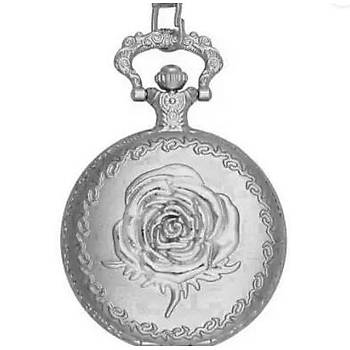 Kuvars Köstekli Mini Cep Saati Kolye Silver Gonca Gül Desen