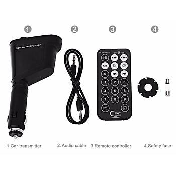 Kablosuz Araç Kiti FM Verici USB SD MMC LCD Ekran
