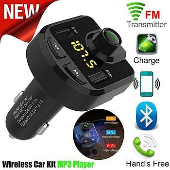 Bluetooth Araç Kiti FM Verici Handsfree Çift USB SD TF Kart U Disk Araba MP3 Çalar