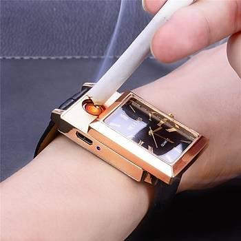 Kuvars Saat Tesla Moda Çakmak Alevsiz Elektronik USB Þarjlý Rüzgar Geçirmez Siyah