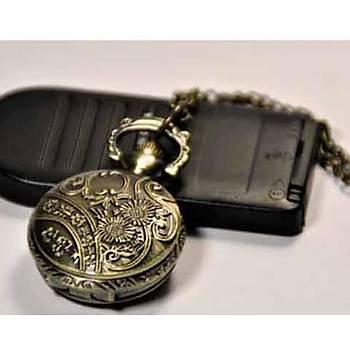 Kuvars Köstekli Mini Cep Saati Kolye Bronz Gonca Gül Desen