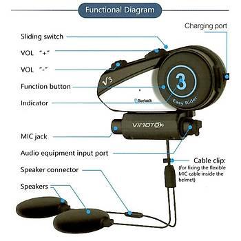 Motosiklet Kask Ýnterkom Bluetooth Kulaklýk Vimoto V3 600 mAh