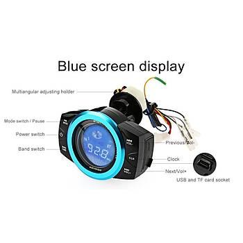 Motosiklet LCD FM MP3 Çalar Su Geçirmez Müzik Çalar Anti-Hýrsýzlýk Alarm USB SD