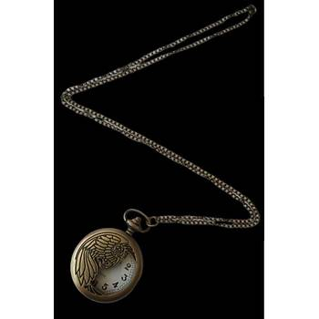 Klasik Kuvars Köstekli Cep Saati Bronz Antika Kolye Zincirli Gold Wing Desenli