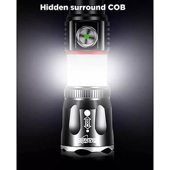 2 in 1 10W 3 Mod El Feneri veya 360° COB Iþýk USB Þarjlý Zumlu IPX5 Su Geçirmez