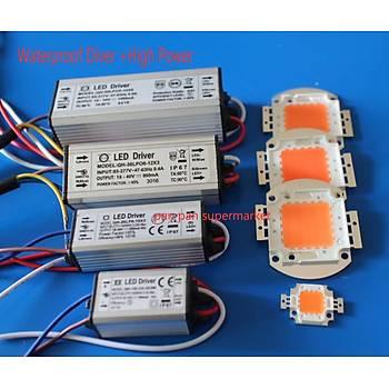 30 W Tam Spektrum 400-840nm + LED Waterpoof Sürücü Güç Kaynaðý