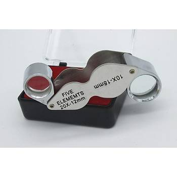 10X 18mm 20X 12mm Kuyumcu Cam Lens Çift Büyüteç Katlanýr Metal Çerçeve