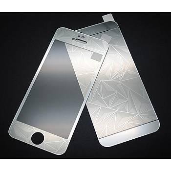 iPhone 5 5S Ýçin Ön/Arka Mirror Aynalý 3D Ekran Koruyucu Tamperli Cam Gümüþ Renk