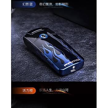 Darbeli Ark Plazma Rüzgar cakmaðý Alevsiz USB Þarjlý Elektrikli Blue Flame