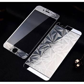 iPhone 6 Plus 6S + Ýçin Ön/Arka Mirror Aynalý 3D Ekran Koruyucu Tamperli Cam Gümüþ Renk
