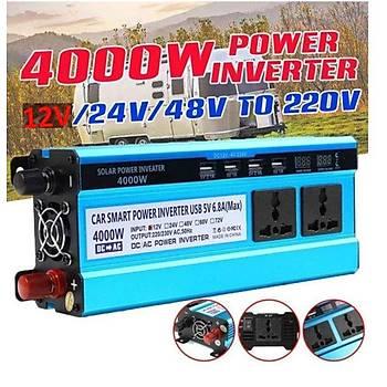 4000W Ýnvertör 12V to 220V  Gerilim Dönüþtürücü Trafo 4 USB Þarj Cihazý Araç Ev