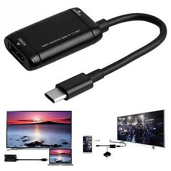 USB-C C Tipi HDMI Adaptörü USB 3.1 Dönüþtürücü Kablosu 12 cm