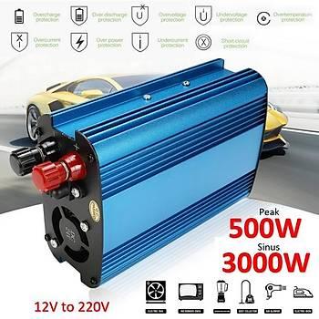 12V Ac 220V Dc Dönüþtürücü Power Ýnverter 3000W PCK Modifiye Sinüs Dalga