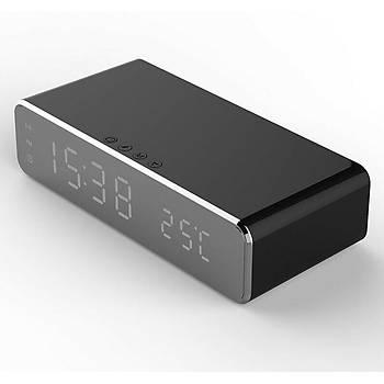 Qi Kablosuz Telefon Þarjlý LED 12/24 Çalar Saat Dijital Masa Saat Termometre