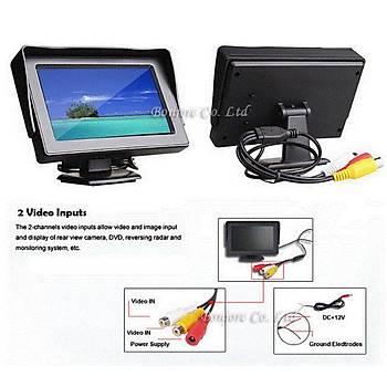 Kablosuz Araç Mini Geri Dikiz CCD Kamera - 4.3 TFT LCD Monitör