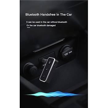 Bluetooth 5.0 A2DP Stereo Ses Alýcýsý Mikrofonlu Araç Kiti Aux 3.5mm Jack