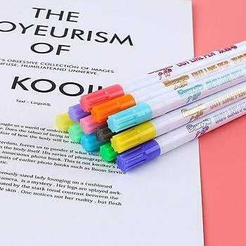 Çift Hat Out Line Pen 12 Renk Kontür Vurgulayýcý Dekoratif 1mm Uç