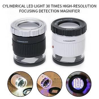 30X Büyüteç ABS Kasa Çift Katmanlý Optik Cam Lens 3 Led 3 UV Iþýk