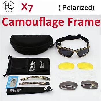 Daisy X7 Camo Taktikal Polarize Gözlük Motor 4 Lensli