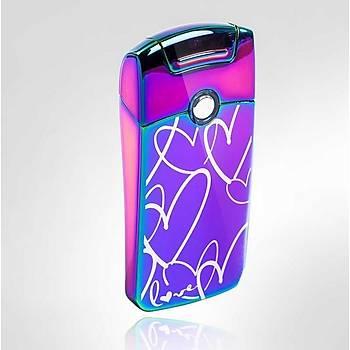 Darbeli Ark Plazma Rüzgar Cakmaðý Alevsiz USB Þarjlý Elektrikli Rainbow Heart