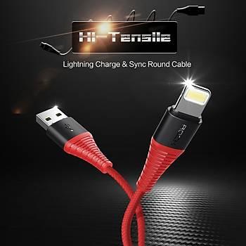 IOS USB Data Senkronizasyon Þarj Kablosu 2.1A iPhone 8 Örgülü Kablo 1 Metre
