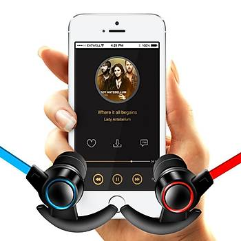 Bluetooth CSR V4.1 Mikrofonlu Kablosuz Stereo HiFi Spor Manyetik Kulaklýk