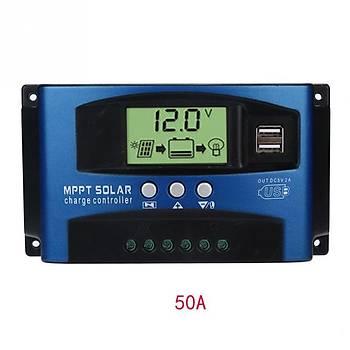 MPPT 50A Solar Þarj Regülatörü 12-24V LCD Ekran Güneþ Þarj Kontrol Cihazý