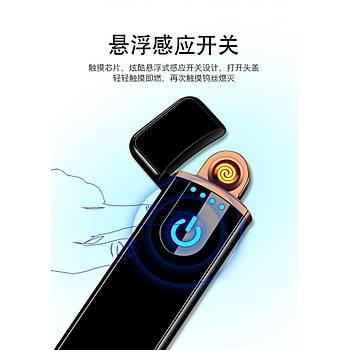 Alevsiz Tesla Çakmak Dokunmatik Ateþleme Sensörlü USB Þarjlý Anti Rüzgar