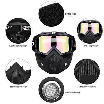 Motosiklet Yüz Maskesi Kask ile Ayrýlabilir Gece Görüþ Gözlüðü Kayak Bisiklet Motokros