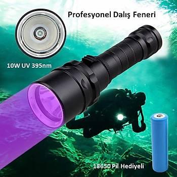 395nm UV 100 mt Sualtý Dalýþ El Feneri 10W Ultraviyole XPE LED Profesyonel Ürün
