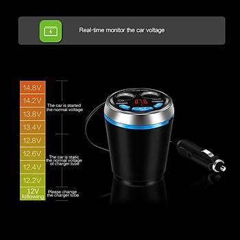 Araç Kiti Çakmak Bardak Tutucu BT 3.0+EDR FM Verici Müzik MP3 Çalar Sesli Görüþme