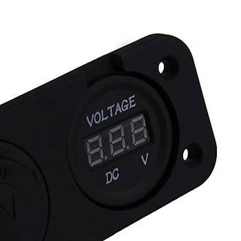 2 in 1 Araç Su Geçirmez 12V 15A Çakmak Soket Güç Paneli Voltmetre