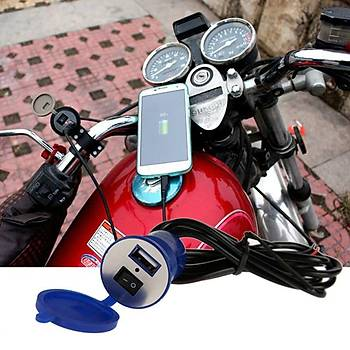 Motosiklet Anahtarlý USB Þarj Soketi Su Geçirmez