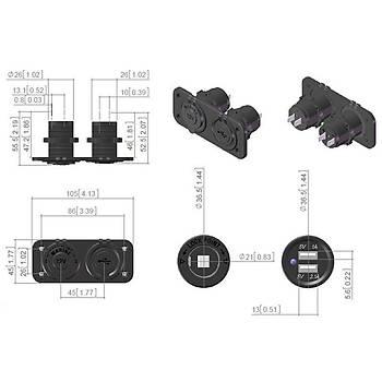 Çakmaklýk 12V-USB 5V 1A-2.1A Motor ATV Tekne