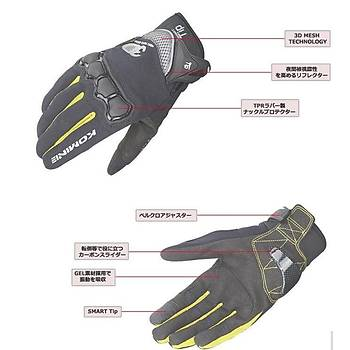 Motorsiklet Yazlýk Eldiven KOMINE GK162 3D Örgü Teknolojisi Sarý/Siyah XL