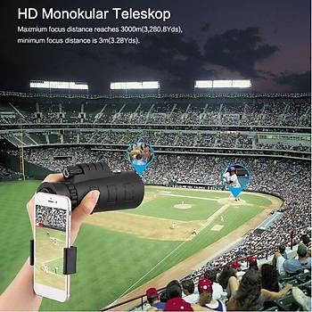 50x60 HD Monoküler Çift Odak Teleskop Yüksek Güç Düþük Iþýk Gece Görüþ BAK4