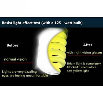 Araç Gece Görüþ Gözlüðü HD Sarý UV Lens Koruma
