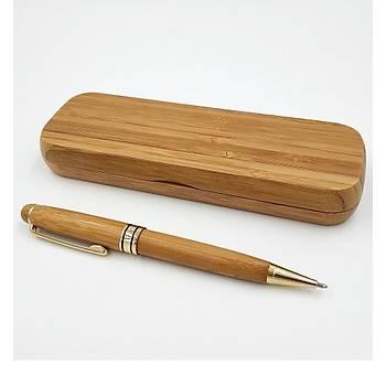 Doðal Bambu Tükenmez Kalem & Ahþap Kalem Kutusu 0.5mm Siyah Mürekkep