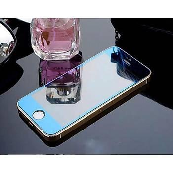 iPhone 5 5S Ýçin Ön/Arka Mirror Aynalý Ekran Koruyucu Tamperli Cam Lacivert Renk