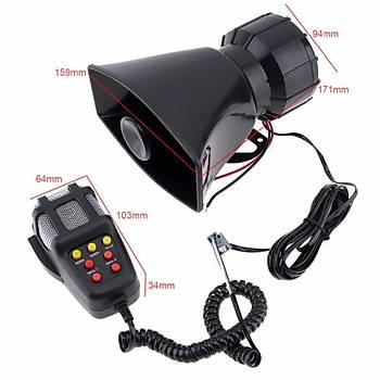 Araç Motosiklet Megafon Hoparlör 105db 100W 12V 5 Farklý Siren Sesi Mikrofon
